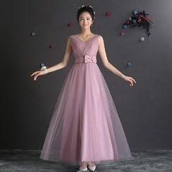 minako - Plain Sleeveless Evening Gown
