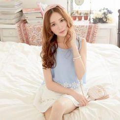 Tokyo Fashion - Sleeveless Lace-Trim Chiffon Top