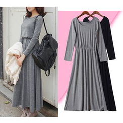 Isadora - Gather-waist Long-Sleeve Dress