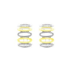BELEC - White Gold and K Gold Plated 925 Sterling Silver with White Cubic Zircon Earrings