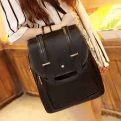 Suis MOI - Faux Leather Flap Backpack