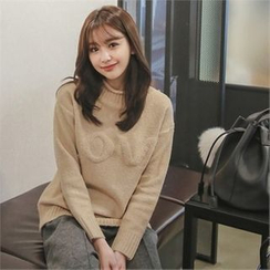 Styleberry - Mock-Neck Lettering Sweater