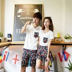 We Belong - Couple Matching Set: Short Sleeve T-Shirt + Floral Shorts / Mini Skirt
