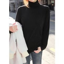 J-ANN - Turtle-Neck Long-Sleeve Top