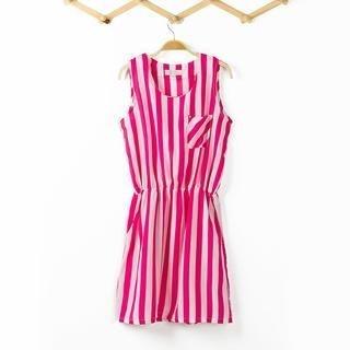 Flower Idea - Sleeveless Striped A-Line Dress