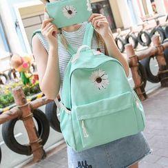 Seok - 套装: 印花帆布背包 + 手拿包