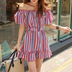 DABAGIRL - Off-Shoulder Stripe A-Line Mini Dress