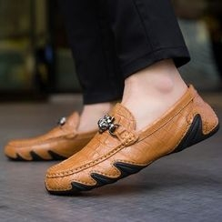 MARTUCCI - Genuine-Leather Buckled Croc Grain Loafers