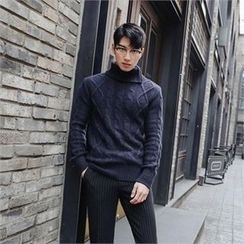STYLEMAN - Zip-Trim Turtle-Neck Sweater