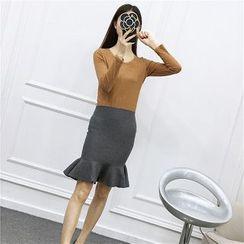 Be Bonita - Ruffle-Hem Knit Pencil-Cut Skirt