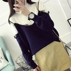 LOFT - Lace Trim Mock Neck Sweater
