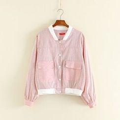 Mushi - Pinstriped Pocketed Jacket
