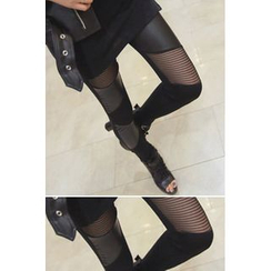 REDOPIN - Sheer Panel Faux Leather Leggings