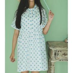 Moricode - Heart Print Short-Sleeve Dress