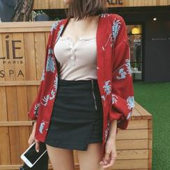 DABAGIRL - Open-Front Floral Pattern Jacket