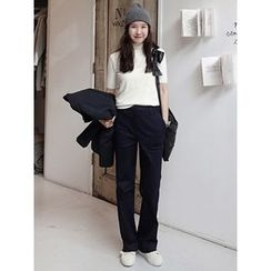 maybe-baby - Pocket-Detail Flat-Front Pants