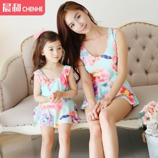 Morning Dew - Floral Print Family Matching Swimdress