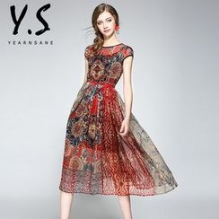 Y:Q - Set: Cap-Sleeve Patterned A-line Dress + Slipdress