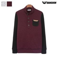 DANGOON - Mock-Neck Contrast-Sleeve Henley
