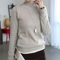 CHICFOX - Turtle-Neck Mélange Sweater