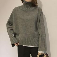 Moon City - Plain High Neck Sweater