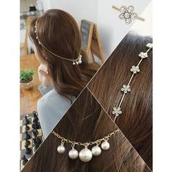 soo n soo - Rhinestone Hair Band with Faux-Pearl Chain Strap