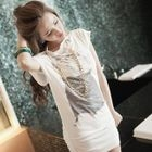 PUFII - Diagonal-Shoulder Printed Halter Long T-Shirt With Chain