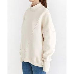 Someday, if - Mock-Neck Seam-Trim Sweatshirt