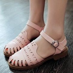 Gizmal Boots - Perforated Buckled Sandals