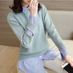Ageha - Inset Striped Shirt Distressed Sweater