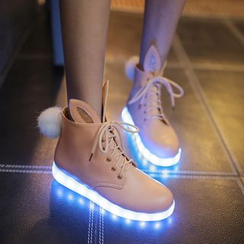 Pretty in Boots - LED Sole Rabbit Ear Lace-Up Shoes