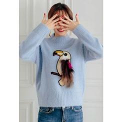 REDOPIN - Faux-Fur Appliqué Knit Top