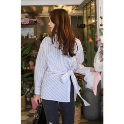 PPGIRL - Tie-Waist striped Shirt