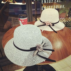Milliner - Bow-Accent Straw Sun Hat