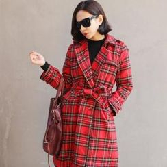 ELLASOO - Double-Breasted Plaid Trench Coat