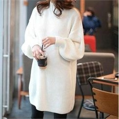 YOOM - Balloon-Sleeve Long Knit Top