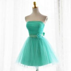idresses - Strapless Bow Mini Prom Dress