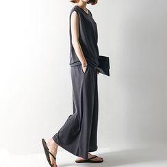 FASHION DIVA - Set: Sleeveless Top + Wide-Leg Pants