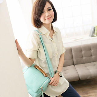 Tab-Sleeve Long Blouse