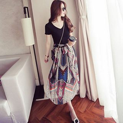 lilygirl - Short Sleeve Mock Two-Piece Chiffon Dress