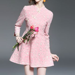 Alaroo - Long-Sleeve Embroidered A-line Dress