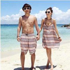 DJ Design - Couple Set : Halter Printed Bikini + Cover-Up / Drawstring Printed Shorts