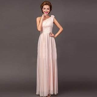 Angel Bridal - One-Shoulder Corsage Accent Evening Gown