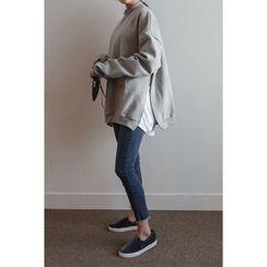 migunstyle - Round-Neck Slit-Side Pullover