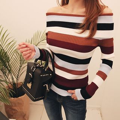 DABAGIRL - Off-Shoulder Stripe Ribbed Top