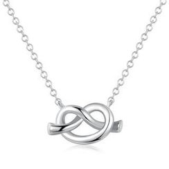 MBLife.com - Left Right Accessory - 9K White Gold Romantic Love Knot Necklace (16') Women Jewellery