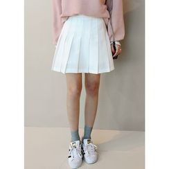 J-ANN - Inset Shorts Pleated Mini Skirt