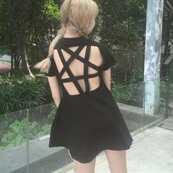 LINSI - 镂空后短袖泳裙