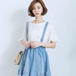 BAIMOMO - Distressed Denim Jumper Skirt