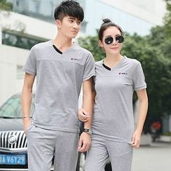 Azure - Couple Matching Printed Short Sleeve Polo T-Shirt